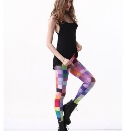 Printed Leggings Pants Sexy Slim Lo..