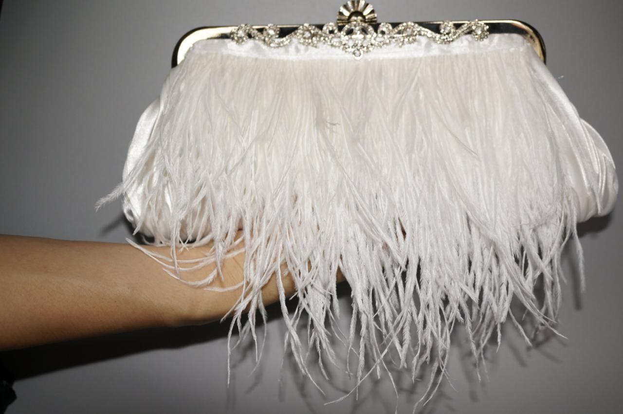 Wedding Clutch Handbag Bridal Ostrich Feather Black Nb10011
