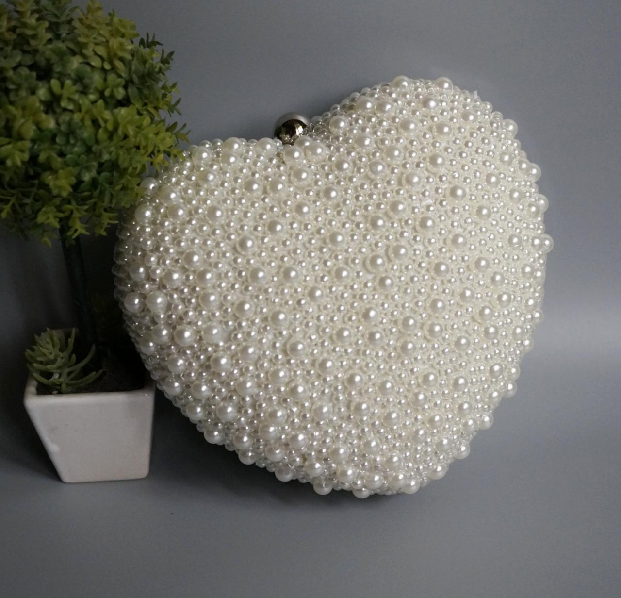 High-grade pearl bag handbag, bride handbag,wedding bag,party handbag,beaded wedding bagm,heart-shaped handbag(NB10003)