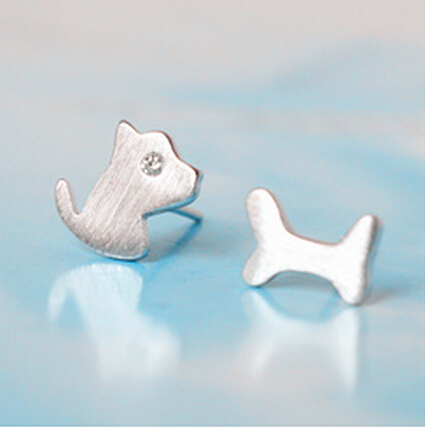 Sterling Silver Anti Allergy Dog and Bone Earring