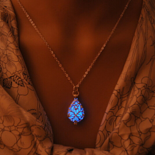 Glow In The Dark European Atlantis Silver Locket Pierced Hollow Water Drop Pendant Luminous Statement Chocker Necklace-MSP0015