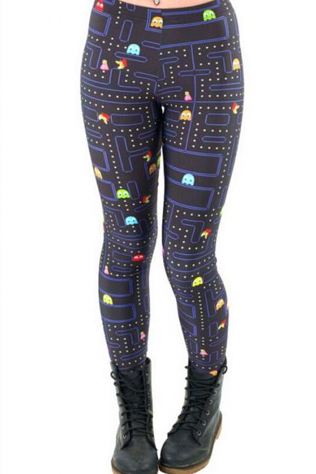 Pacman Printed Leggings Pants Sexy Slim Long Pencil Trousers/Fashion Tights/Yoga pant Lgs3404