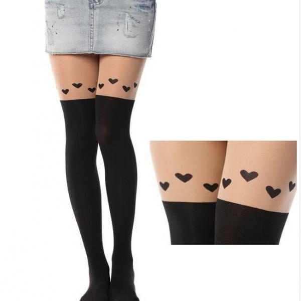 Heart-Shaped Print Tail Tights Stockings Pantyhose For Spring and Summer
