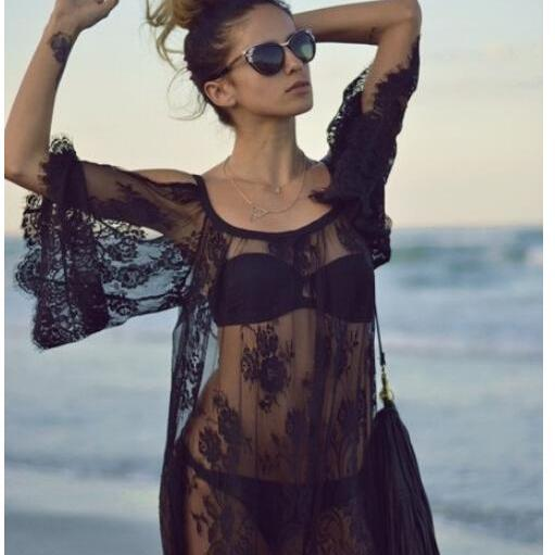 Summer fashion cover up beach Dress Women sexy lace dresses