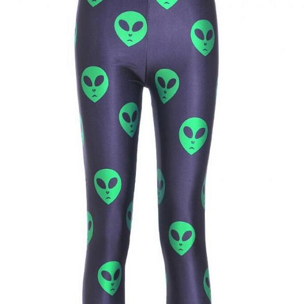 Cute Green Alien Face Emoji Printed Leggings Pants Sexy Slim Long Pencil Trousers/Fashion Tights Lgs3616